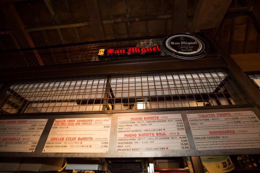 The menu at Gusto Tacos